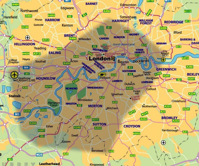 london map large areas we cover in london